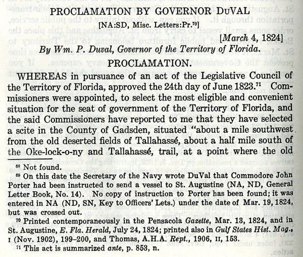 Proclamation by Governor Duval naming Tallahassee as territorial capital